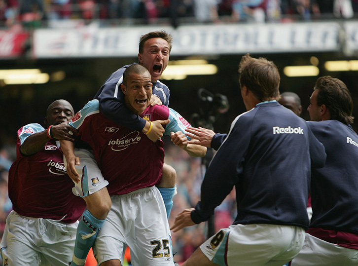 Bobby Zamora celebrates his winner in the 2005 Championship Play-Off final