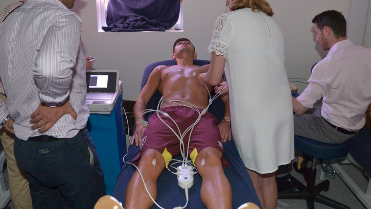 Aaron Cresswell undergoes cardiac screening at Rush Green on Monday morning