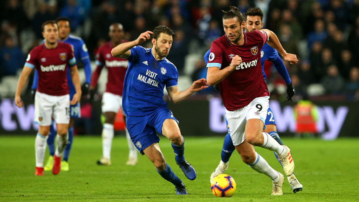 Andy Carroll in action against Cardiff City