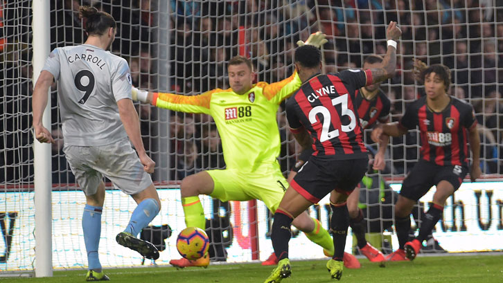 Andy Carroll missed West Ham United's best opportunity to score at Vitality Stadium