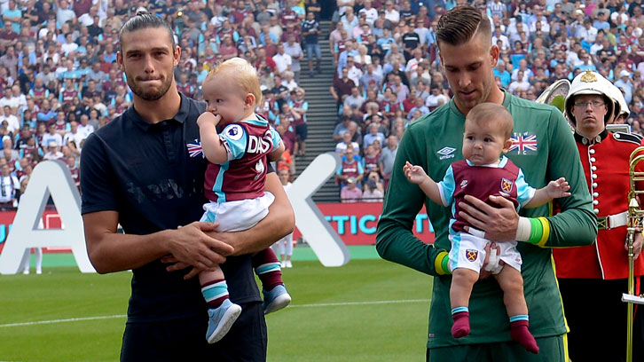 Andy Carroll, Adrian and their respective sons prior to facing Juventus