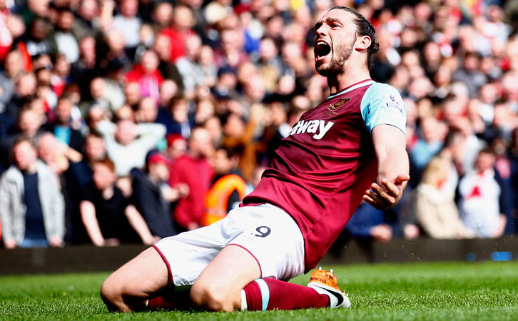 Andy Carroll celebrates scoring one of his three goals against Arsenal in 2016