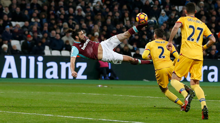 Andy Carroll scores a sensational goal against Crystal Palace in January 2017