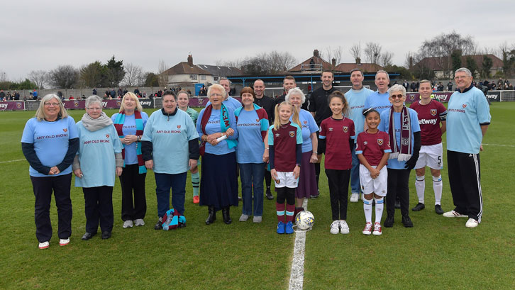 Any Old Irons members were mascots for Sunday's Women's Super League fixture