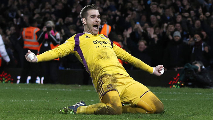 Adrian celebrates scoring his winning penalty against Everton in 2015