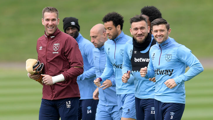 Adrian smiles in training at Rush Green