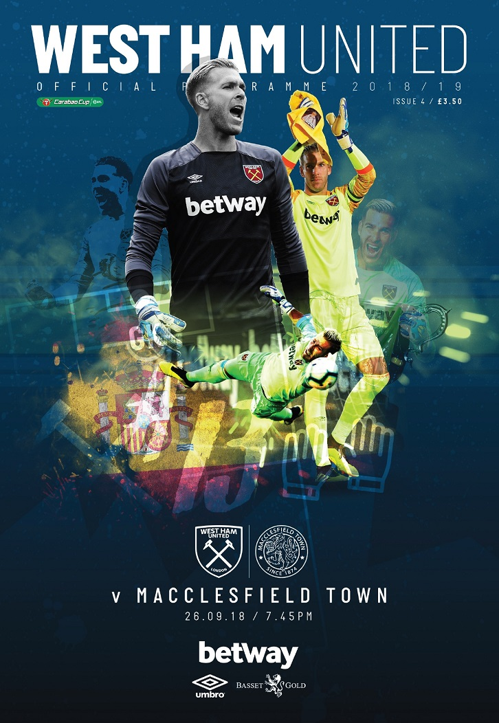 Adrian is the cover star for Wednesday's Carabao Cup Official Programme