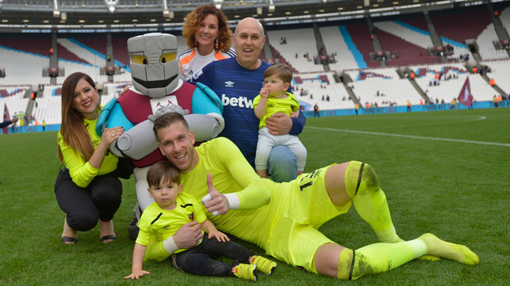 Adrian's family joined him at London Stadium for Sunday's win over Everton