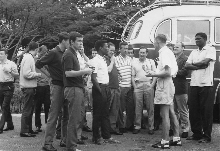 The Irons prepare to board a bus during their three-week summer tour