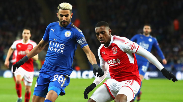 Then with Fleetwood Town, Amari Bell faced Leicester City's Riyad Mahrez in the FA Cup in January