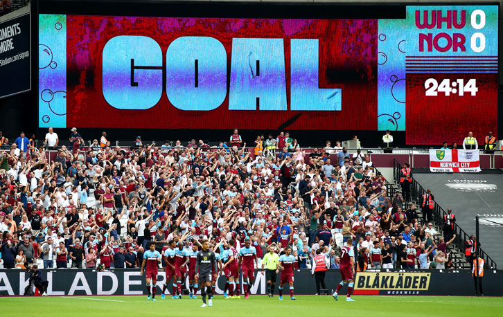 Goal logo on big screen at London Stadium