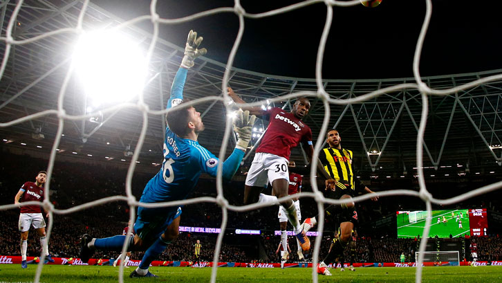 Michail Antonio sees his header hit the Watford crossbar