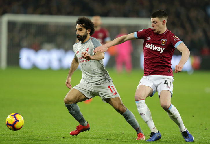 Declan Rice keeps tabs on Mohamed Salah