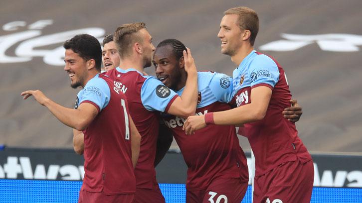 Michail Antonio celebrates scoring against Watford