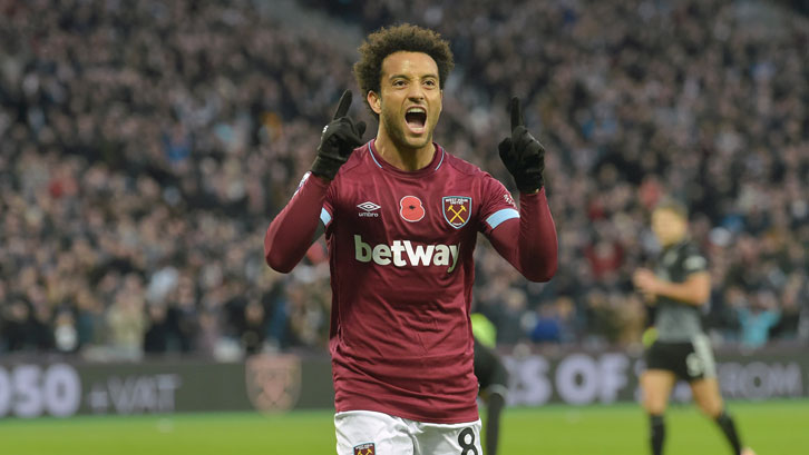 Felipe Anderson celebrates scoring against Burnley