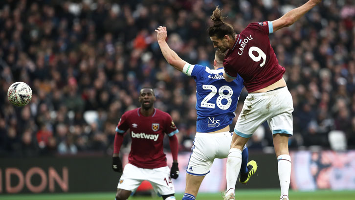 Andy Carroll scores against Birmingham City