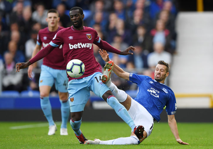 Pedro Obiang holds off the challenge of Morgan Schneiderlin