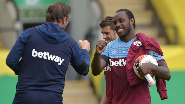 Michail Antonio celebrates scoring four at Norwich
