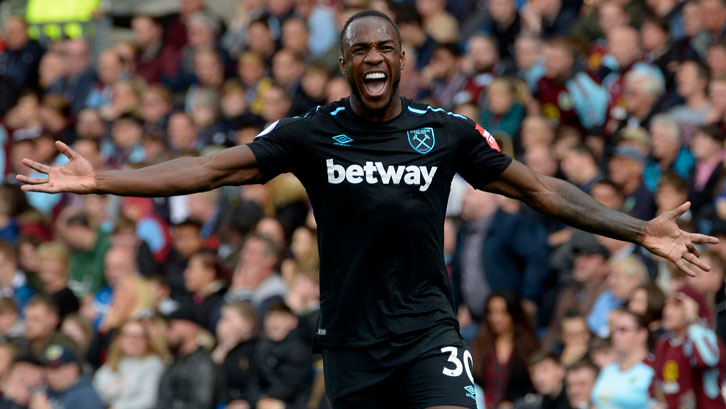 Michail Antonio celebrates his goal at Burnley