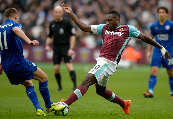 Michail Antonio in action against Leicester City