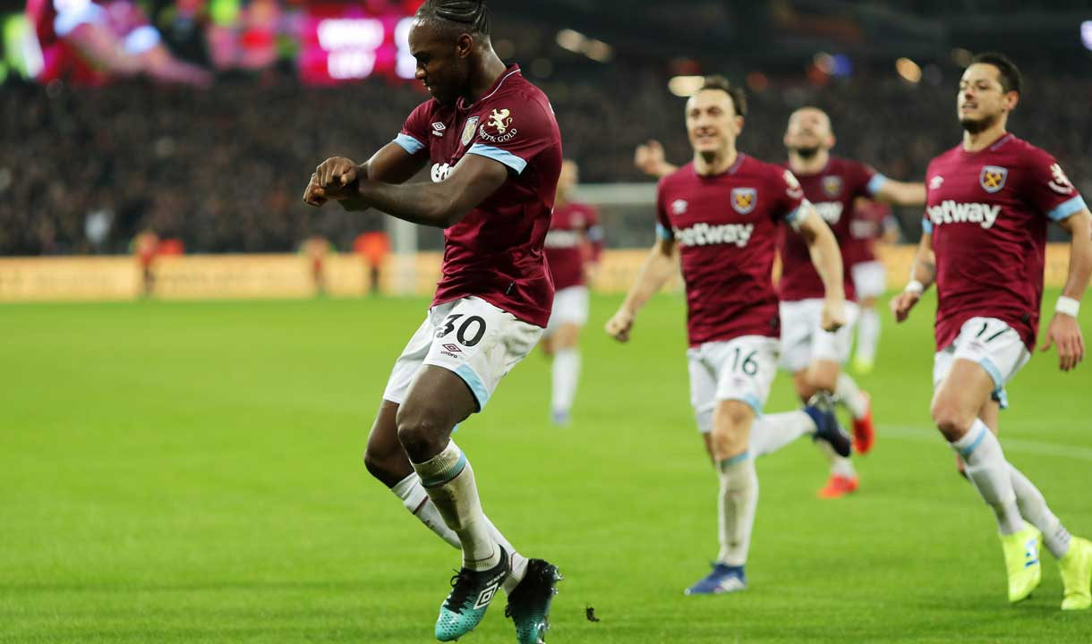 Michail Antonio celebrates his goal against Liverpool