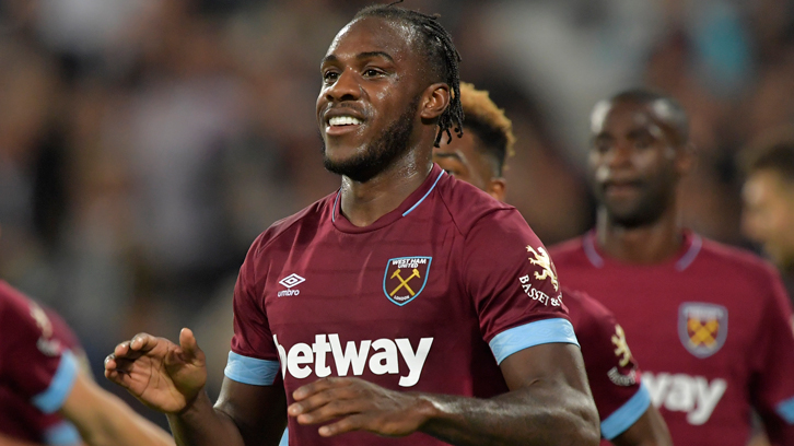 Michail Antonio celebrates scoring against Macclesfield