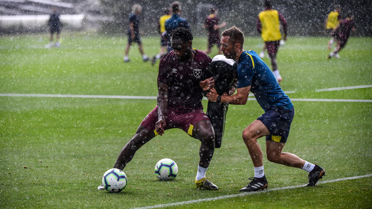 Michail Antonio working hard during pre-season training in Switzerland