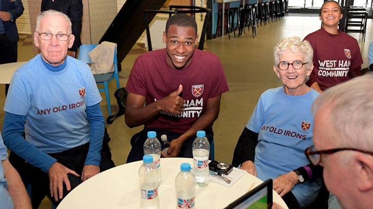 Issa Diop and Rosie Kmita with members of Any Old Irons