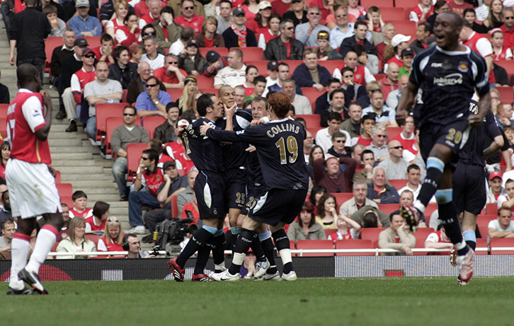 Bobby Zamora is mobbed after scoring West Ham United's winner at the Emirates in spring 2007