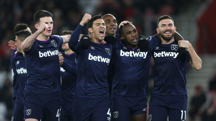 Fabian Balbuena and his teammates celebrate at St Mary's Stadium