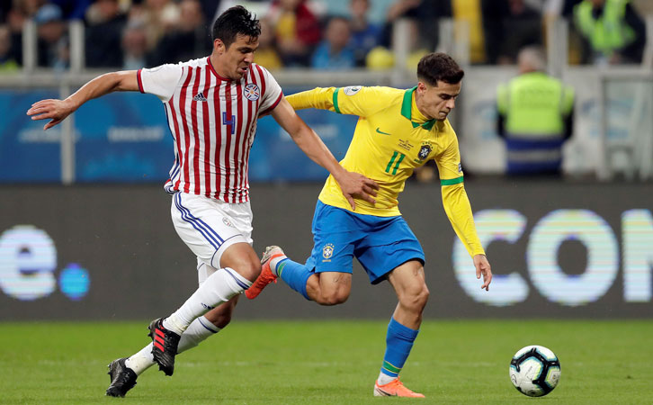 Fabian Balbuena in action for Paraguay