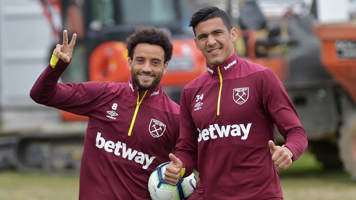 Fabian Balbuena (right) and fellow South American Felipe Anderson are enjoying life in Claret and Blue