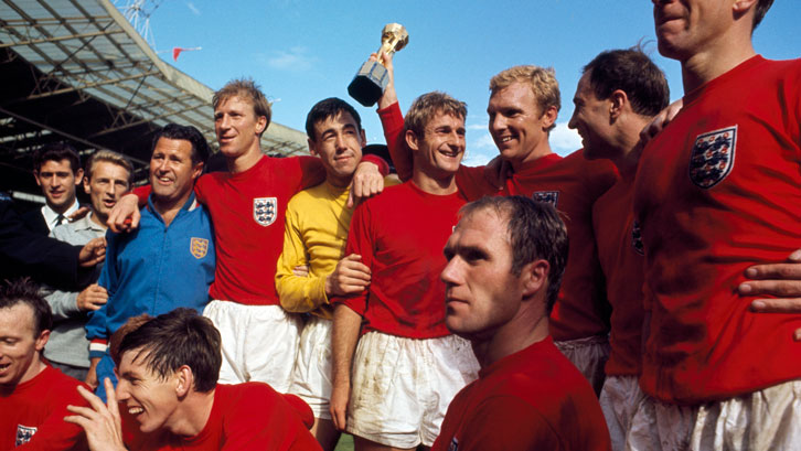 Gordon Banks and his England teammates celebrate winning the World Cup