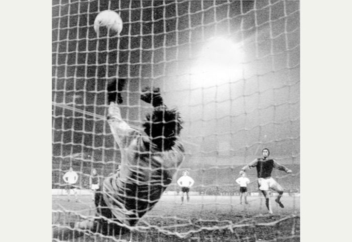 Gordon Banks makes his famous League Cup semi-final save from Geoff Hurst in 1972