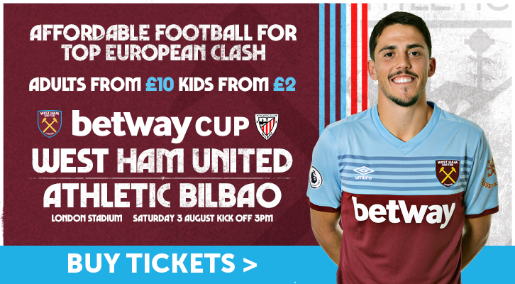 West Ham United versus Athletic Bilbao ticket graphic