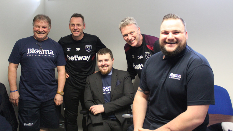 Matthew Weston and fellow Blesma members with Stuart Pearce and David Moyes