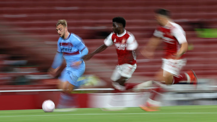 Jarrod Bowen in action at Arsenal