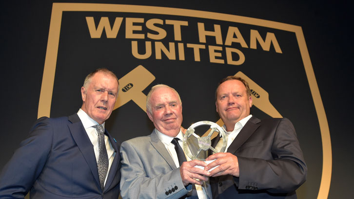 Lifetime Achievement Award winner Ronnie Boyce with Sir Geoff Hurst and BARS Limited's Dave Murphy
