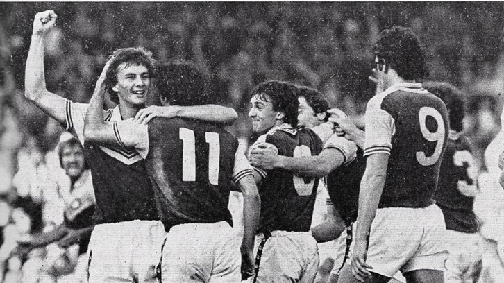 Billy Lansdowne celebrates scoring against Burnley