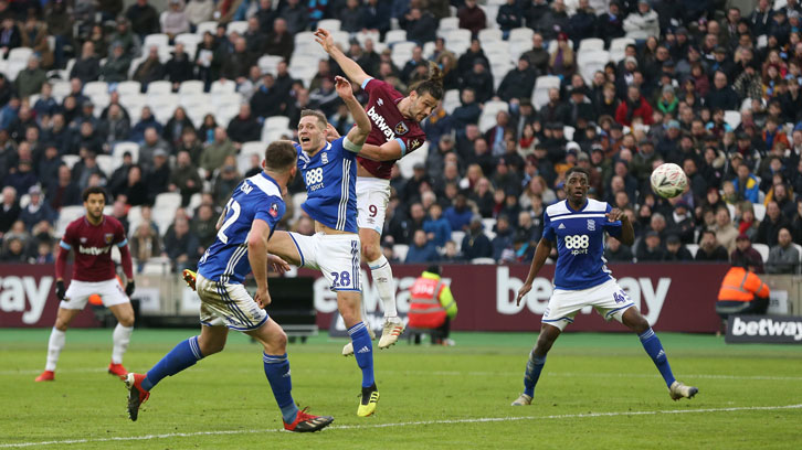 Andy Carroll scored West Ham United's second goal in added time