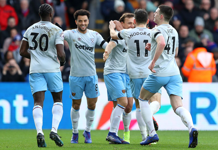 West Ham players celebrate at Crystal Palace