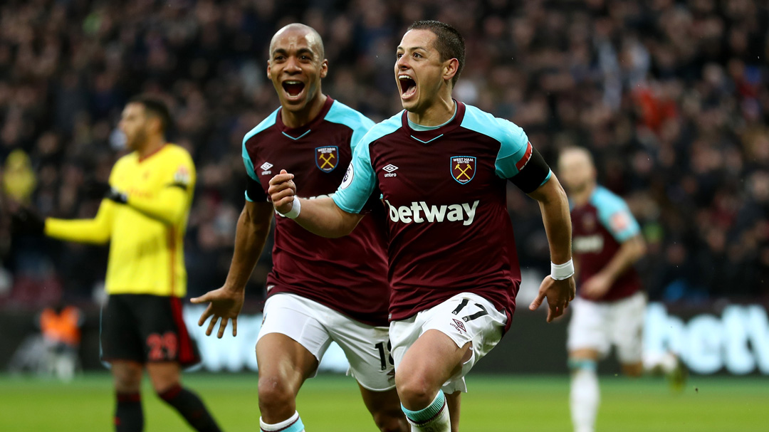 Chicharito celebrates his goal against Watford