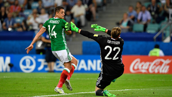 Chicharito and Mexico faced Germany in the 2017 FIFA Confederations Cup semi-finals in Russia