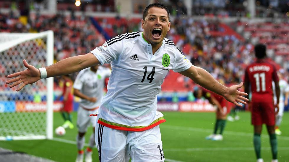 Javier Hernandez celebrates scoring for Mexico