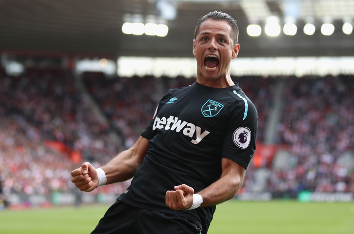 Chicharito celebrates scoring his first West Ham goals at Southampton