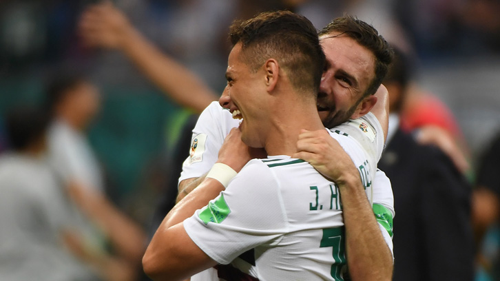 Chicharito celebrates with Miguel Layun