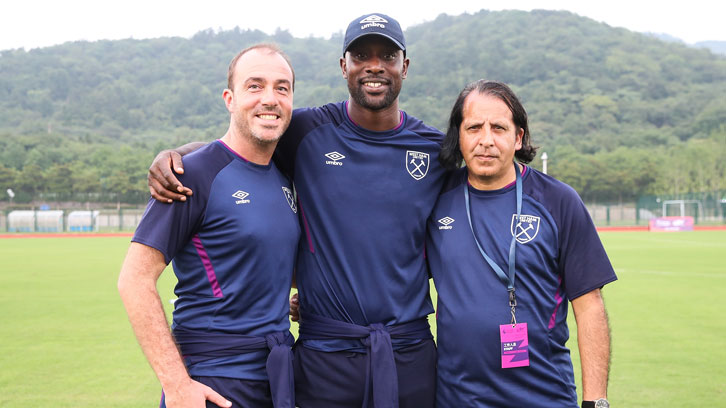 Gerard Prenderville, Carlton Cole and Rashid Abba at the Premier Skills Cup