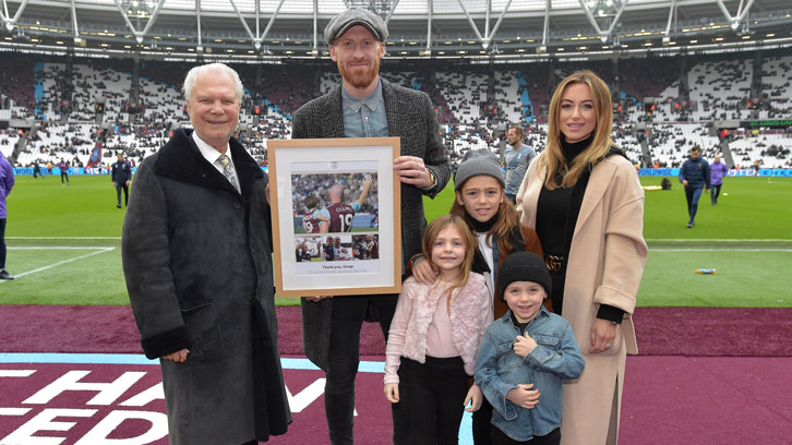 James Collins was joined pitchside by his wife and their three children