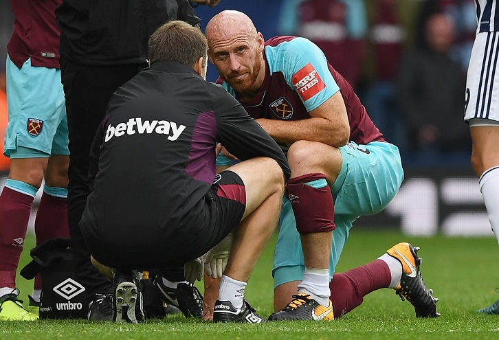 James Collins was injured at West Bromwich Albion