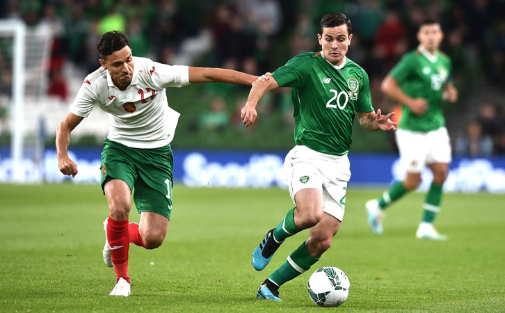 Josh Cullen in action on his Republic of Ireland debut
